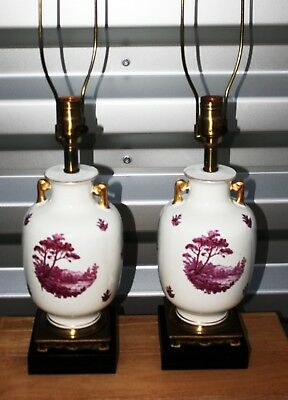 Vintage Apple Blossom Lamps Leviton  Beautiiful Asian Porcelain  Brass Antique