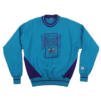 Vintage 1990s Charlotte Hornets Sweatshirt Purple Teal Size Youth L Made in USA