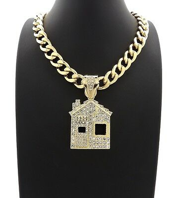 """Mens Trap House Pendant With 20"""" 11mm Cuban Chain 14K Gold Plated"""