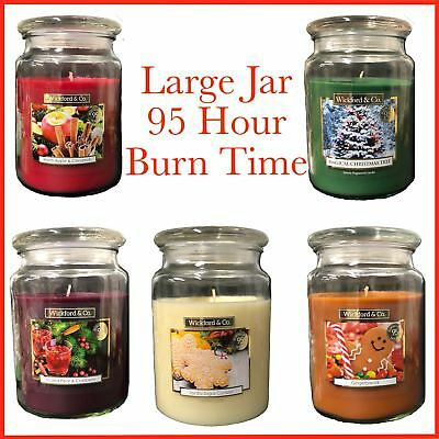 Large Wickford & Co Festive Scented Candles Jar 95 Hour Burn Time 18oz Festive