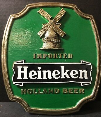 Vintage Imported Heineken Holland Beer Plastic Sign Wall of Self Standing V.G.