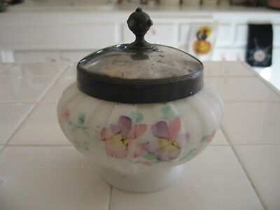 Beautiful Antique Hand Painted Floral Jar With Silver Plate Lid Wave Crest