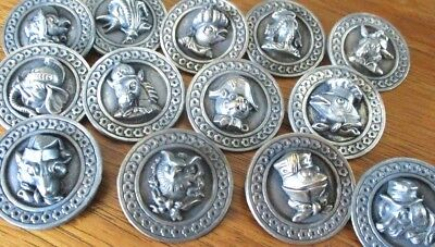 """LOT OF 13~1940s French Metal Buttons""""ANIMALS W/HAT""""Vintage Antique-frog/fish/dog"""