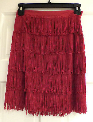 Vintage Flapper Style Red Skirt Dance Costume Fringe Halloween Size M 80s T47