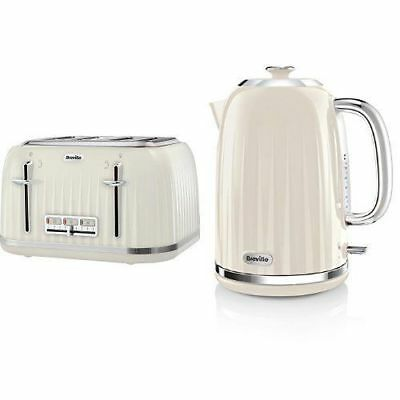 Cream 1.7L Kettle and  4 Slice Toaster Kitchen Christmas Gift Set Breville
