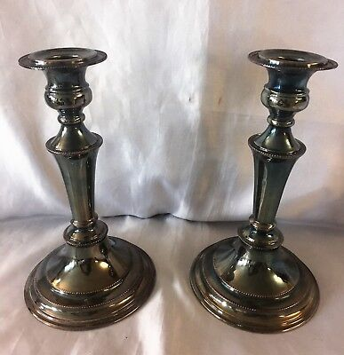"""Vintage Pair of Silverplate Candlesticks Gray Grey Silver on Copper England 8"""""""