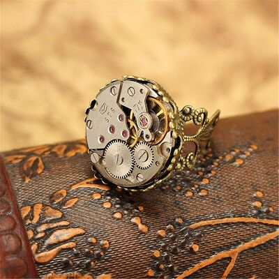 Steampunk Watch Movement Adjustable Shabby Gears Ring Antique Unique Wearing Us