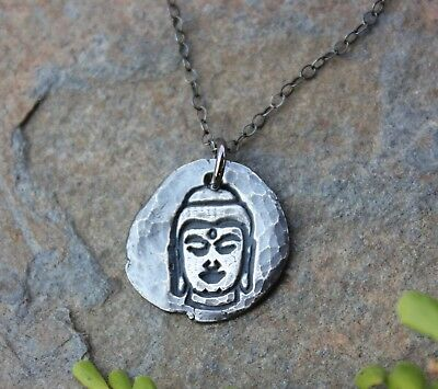Buddha Fragment Necklace- Zen fine silver handmade charm on black sterling chain