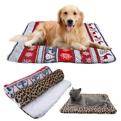 Indestructible Dog Bed Warm Fleece Mat for Kennel Crate Cushion Washable S-XL