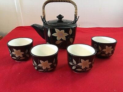 Vintage Japanese Porcelain Teapot with Wicker Handle & Four Cups Gold Flowers