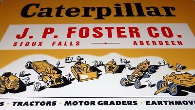 """Vintage Caterpillar Tractor Company Diesel 12"""" X8"""" Baked Metal Gasoline Oil Sign"""