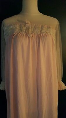 Vintage Silky Nylon & Lace Long Babydoll Nightgown Lingerie Sissy Baby Pink SM