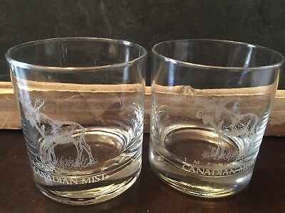 Imported Canadian Mist Moose Etched Whiskey Glasses Set Of 2