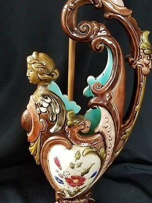 Amazing Antique Art Nouveau Majolica Vase Lamp , Beautiful Details And Colors