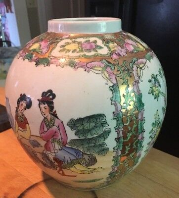 """Antique Vintage Handmade/painted 9x9"""" Asian Chinese Round Vase-SEE Mark- NICE!"""