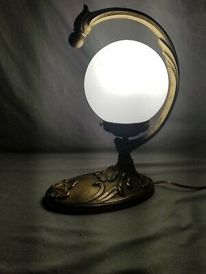 Vintage Art Deco/Nouveau Bronze Lamp with frosted Globe