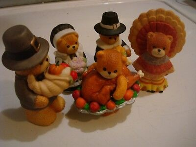 5 Ensco, Lucy and Me  Pilgrim Bears, Turkey, Indians, Thanksgiving Collectibles