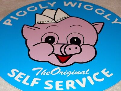 "Vintage ""piggly Wiggly"" Self Service Grocery Store 12"" Baked Metal Gas Oil Sign!"