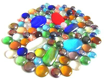 100 x Mixed Rainbow Glass Mosaic Gem Stones - Assorted Colours, Shapes & Sizes