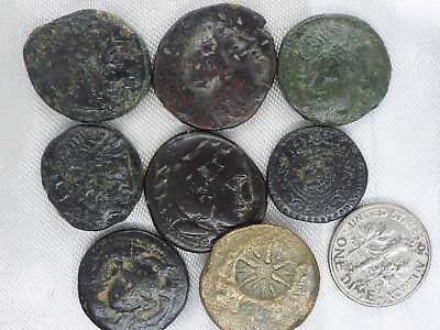 34m-1 lot 8pcs Greek & Scytia Ancient Bronze Coins with Countermarks