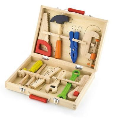 NEW Viga Toys Wooden Tool Box 10pc - Childrens Construction Tools