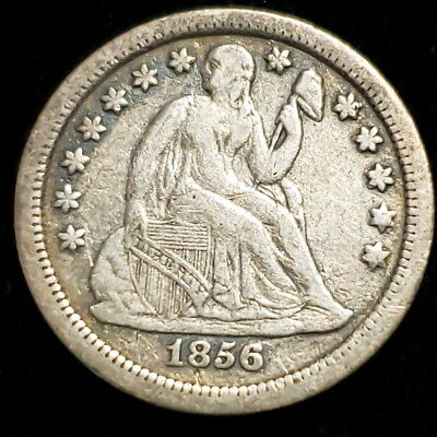1856 S US Seated Liberty Dime .10c Cent .900 Silver Nice Collector Coin +SLD5653