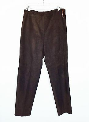 INC Genuine Leather soft high quality Suede Dark Browm Womens Pants Size 14