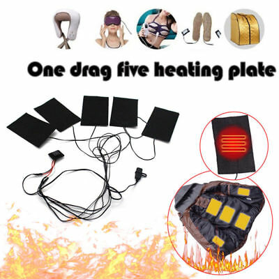 5Pcs USB Electric Heating Pads Thermal Vest Heated Jacket Motorcycle Warm Winter