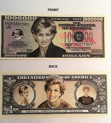 Diana Princess Of Wales Rare $1,000,000 Novelty Note, Gift, Buy 5 Get one FREE
