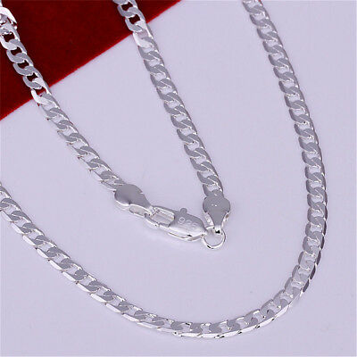 Stunning 925 Sterling Silver Filled 4MM Classic Curb Necklace Chain Wholesale AY