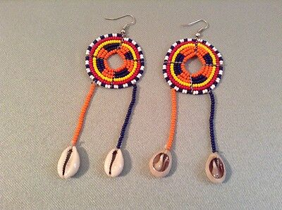 African-Arena Maasai Masai Handmade Beaded Cowrie Shell Jewelry Earrings AA244