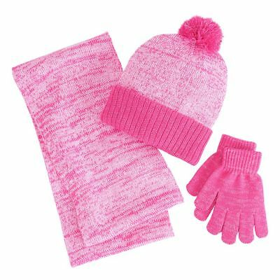 Girls 4-16 Berkshire 3-pc. Marled Infinity Scarf, Hat & Gloves Set Bright Pink