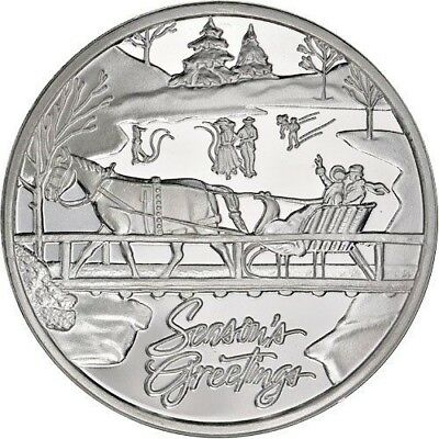 Sleigh Ride Christmas Silver 1 Oz .999 Pure Solid Silver Art-Round Uncirculated