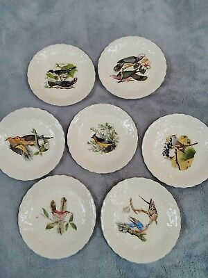 Antique Audubon Small Plates Set Of Seven- From The Birds Of America
