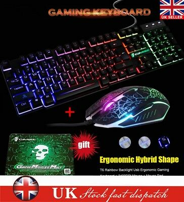 aba5526951b T6 Rainbow Backlight USB Ergonomic Gaming Keyboard + 2400DPI Mouse + Pad  Black