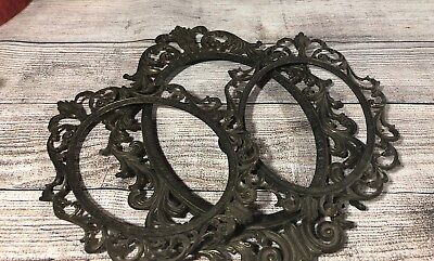Antique Victorian Style Ornate Metal Picture Frame Set of 3