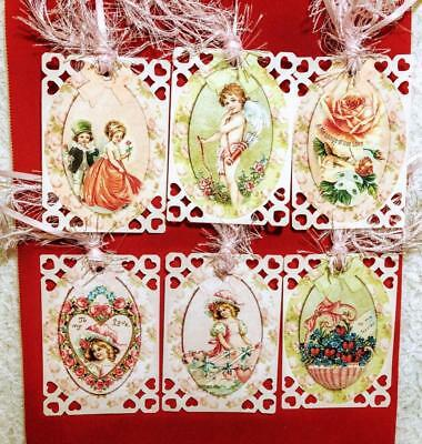 Set of 6 Hang Tags~Vintage Victorian Valentine~Gift Tags~Scrapbooks~Card's~#187R