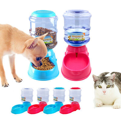 Cat Dog Automatic Water Fountain Feeder Food Dispenser Set Dishes Pet Dogs Bowl