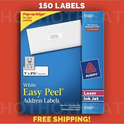 "150 Avery 5160/6240/8160/5960 Address Mailing Shipping Labels 1"" x 2 5/8"""