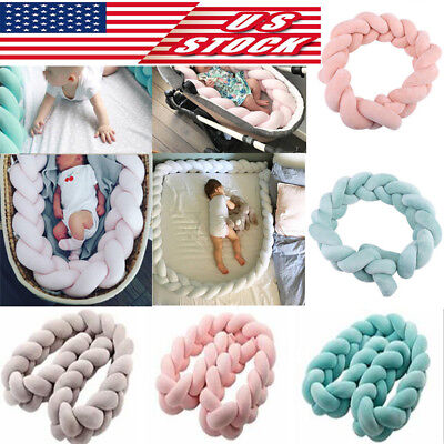 US Infant Baby Plush Bumper Bed Bedding Crib Cot Braid Protector Pillow Cushion