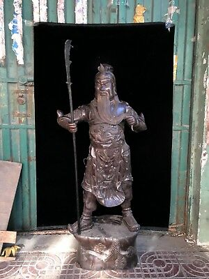 Chinese antique bronze Ancient rare hand-carved bronze guan yu statue /ornaments