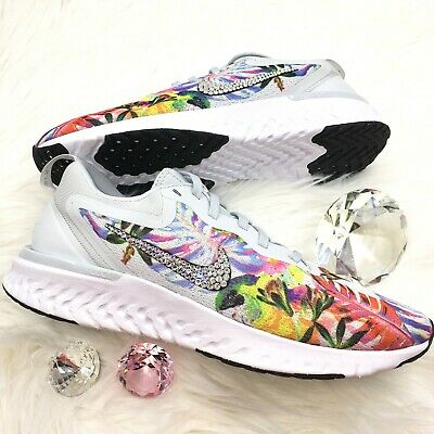 ccace829 Bling Nike Odyssey React Floral Women's Shoes Bedazzled with Swarovski  Crystals