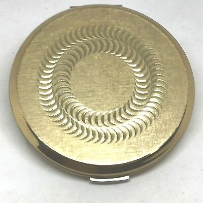 Stratton Powder Compact. Etched, Swirling Spiral on Golden Textured Top. Lovely!