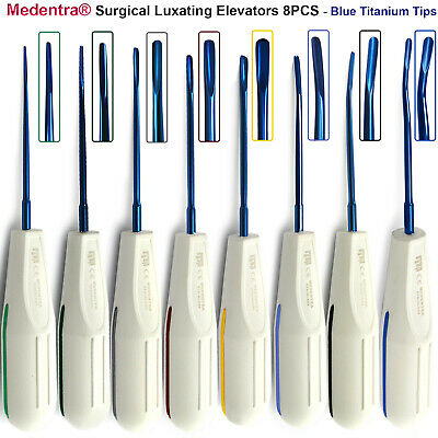 Dental Luxation Elevators Tooth Root Extraction Instruments Blue Coated Tip 8Pcs
