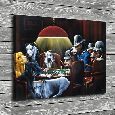 "Dogs Playing Poker Home Decor HD Canvas prints Picture Wall art Painting 16""x20"""