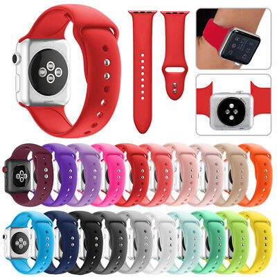 Replacement Silicone Wrist Sport Band Strap For Apple Watch Series 4 40 44 38 42