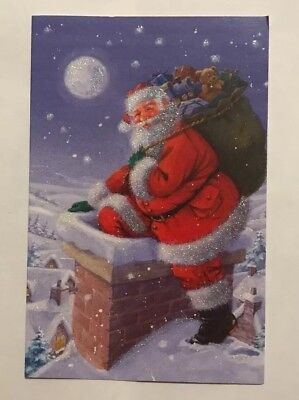 New Vintage Glitter Christmas Card Santa In Red Chimney Snow Bag w/ Presents