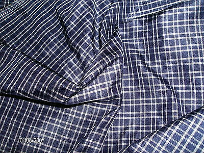 "SMALLER SIZE!  NAVY & WHITE TINY PLAID SILK TISSUE TAFFETA~DOLL FABRIC~9"" x 22"""