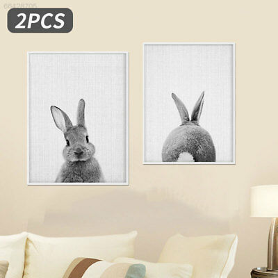 12D5 BC4C Cute Canvas Painting 2pcs Rabbit Pattern Painting Posters No Framed