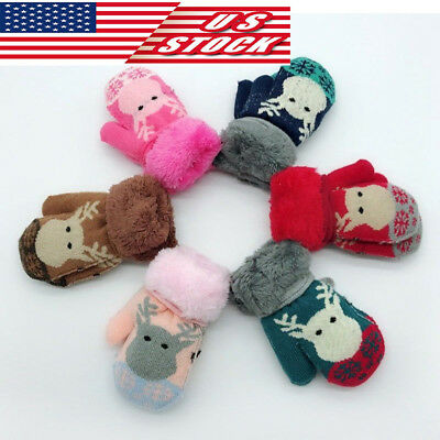 Winter Warm Toddler Kids Baby Girl Boy Finger Gloves Fur Thick Mittens With Rope